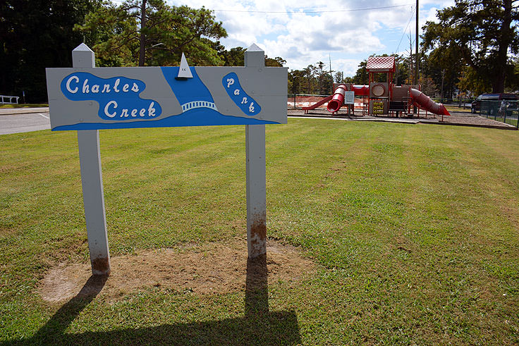 Welcome sign at Charles Creek Park in Elizabeth City, NC